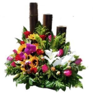 Flower arrangement with bamboo