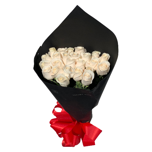 BOUQUET OF 25 ROSES WHITE