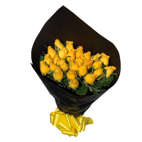 BOUQUET OF 25 ROSES YELLOW