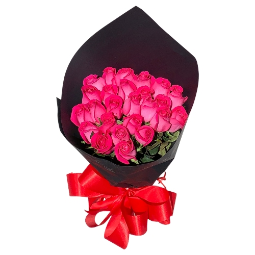 BOUQUET OF 25 ROSES HARD PINK