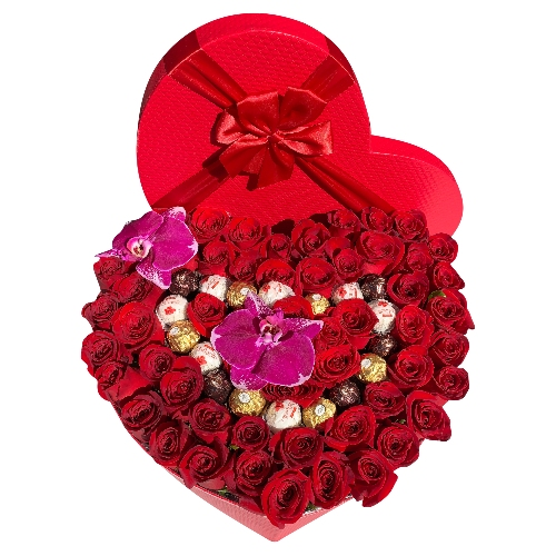 HEART OF 60 ROSES & CHOCOLATES & 2 ORCHIDS