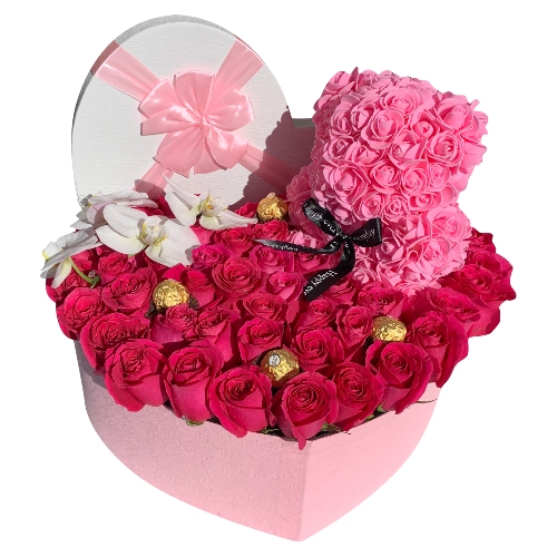 HEART OF 50 ROSES, CHOCOLATES, WITH LOVELY BEAR & 4 ORCHIDS
