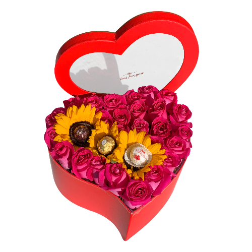 HEART OF 24 ROSES, WITH 3 SUNFLOWERS, AND CHOCOLATE