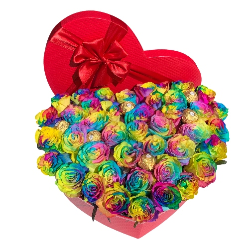 HEART OF 60 RAINBOW ROSES & CHOCOLATE